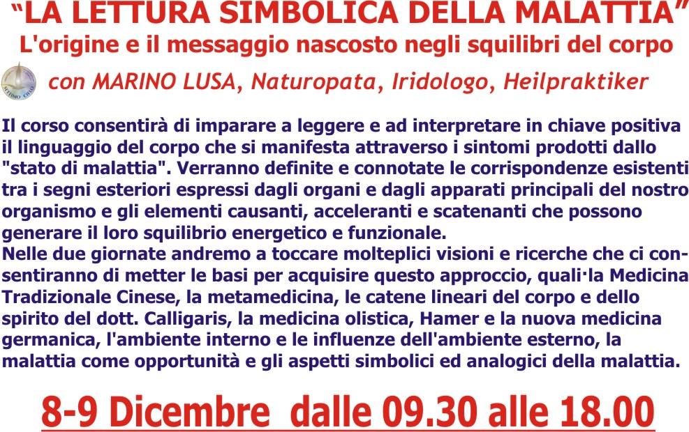 """8-9 Dicembre: """"La Lettura simbolica della malattia"""" con Marino Lusa"""
